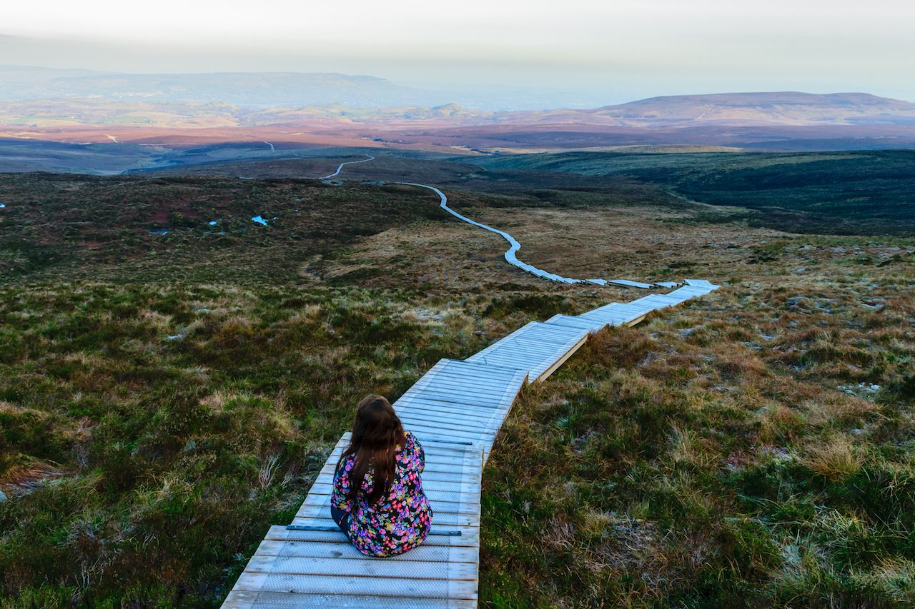 Stairway to heaven Fermanagh, girl looking at amazing view