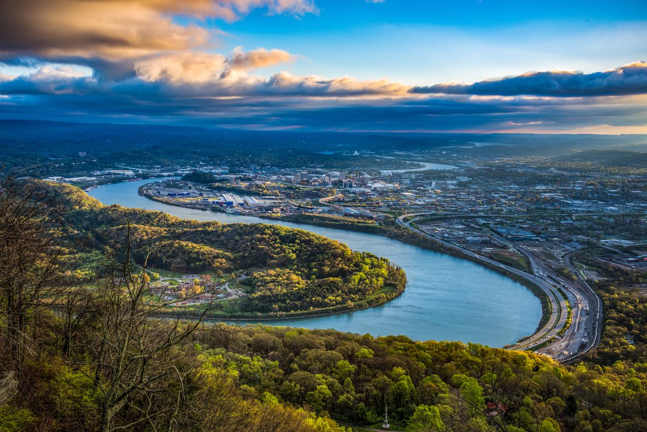 Downtown Chattanooga Tennessee and Tennessee River