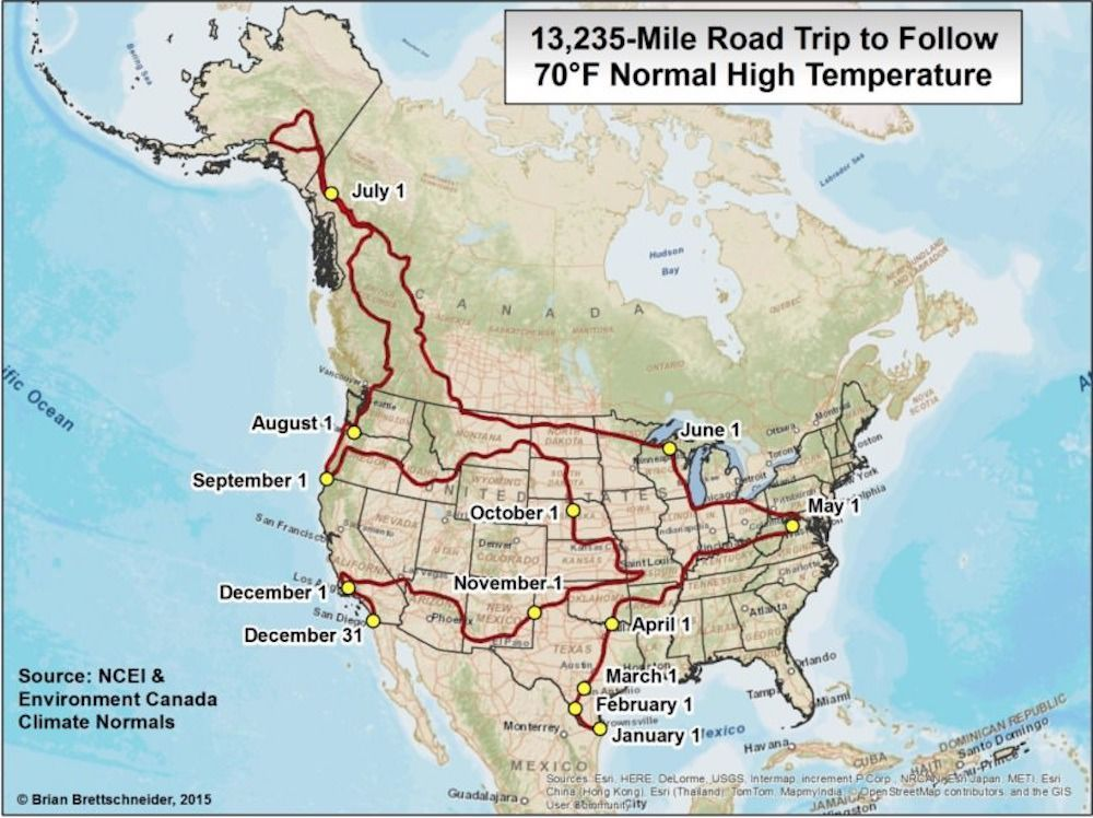 70 degree north american road trip